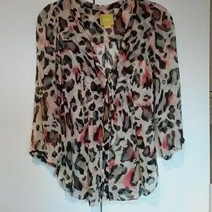 Anthropologie Maeve Leopard Print Blouse Size 6